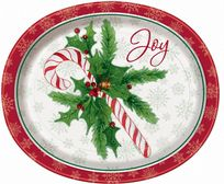 Candy Cane Christmas Oval Paper Plates (8)